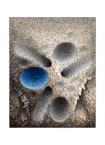 Aggregation 16 - JA006 (Blue),2016, mixed media with Korean mulberry paper, 46.5 x 36.2 inches/118 x 92 cm