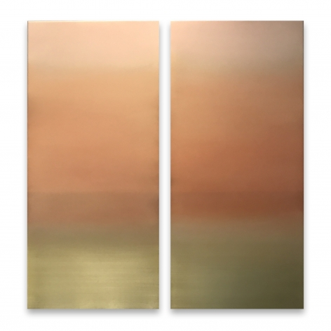 Miya Ando, Yellow Gold Diptych 7.19.4.4.1, 2015, pigment and urethane on aluminum, 48 x 48 inches/121.9 x 121.9 cm
