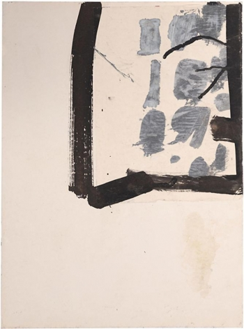 Jay DeFeo, Untitled (Florence), 1952, tempera and ink with collage on paper, 20 x 14.75 inches