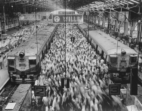 Sebastião Salgado, Church Gate Station, Western Railroad Line, Bombay, India, 1995, gelatin silver print, 48 x 70 inches. © Sebastião Salgado/Amazonas Images