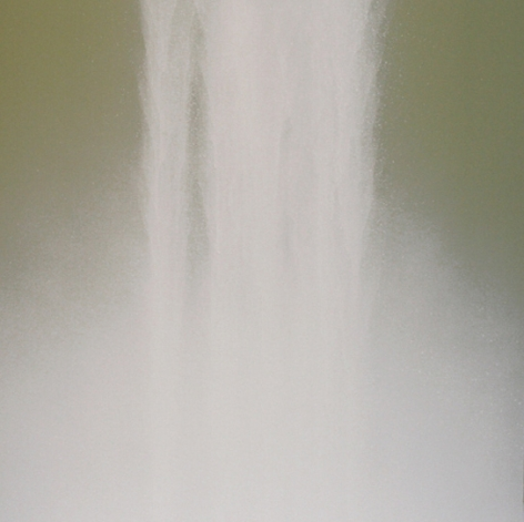 Hiroshi Senju, Waterfall, 2009, fluorescent pigment on mulberry paper mounted on board, 23.9 x 23.9 inches