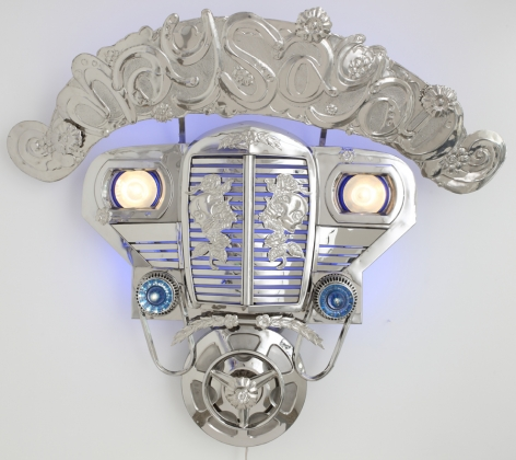 Transformers II (Maysayad), 2010, stainless steel, jeep parts & LED lights, 68.5 x 56.7 inches/174 x 144 cm