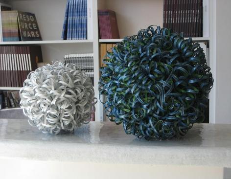 "Nathan Slate Joseph, Urban Tumbleweed 11, 2008, Aluminum, 7"" diameter"