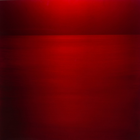 , Aka Red, 2016, pigment and urethane on aluminum, 48 x 48 inches/122 x 122 cm