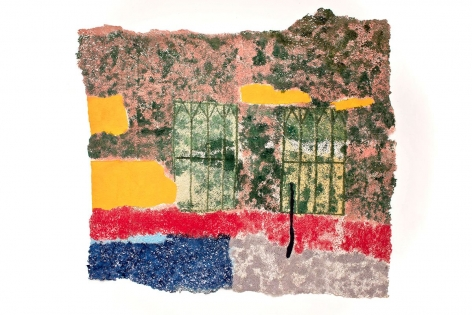I can see through this, 2018, plucked Japanese handmade paper, acrylic paint, thread, 52 x 74.5 inches/132.1 x 189.2 cm