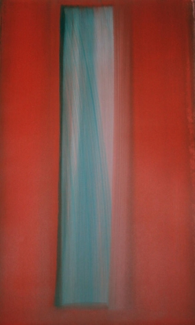 Rosso Acquazzurro, 2001, Mixed media on Arches paper, 40.5 x 26""