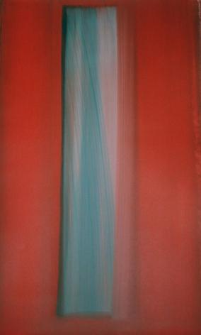 """Rosso Acquazzurro, 2001, Mixed media on Arches paper, 40.5 x 26"""""""