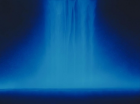 Hiroshi Senju, Falling Water, 2013, Acrylic and fluorescent pigments on Japanese mulberry paper, 38 3/16 x 51 5/16 inches © 2013 Hiroshi Senju