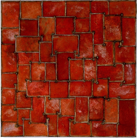 """Red, 2006, Pure color pigment on galvanized steel, 48 x 48"""""""