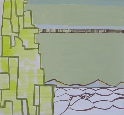 Frances Barth, big island greens, 2008, acrylic on panel, 14 x 15 inches