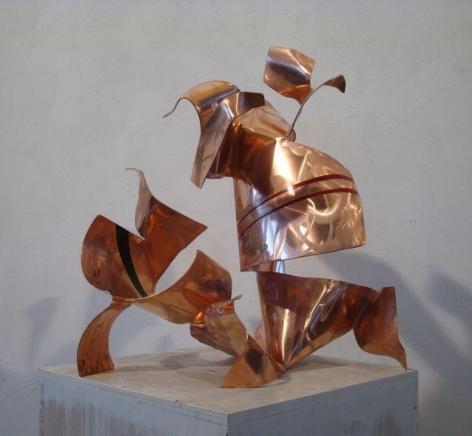 "Autotunage, 2011, red copper, industrial paint, 24""H x 22 1/2""L x 19 3/4""W"