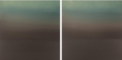 Hakanai Fleeting Green Brown, 2014, hand-dyed anodized aluminum, 24 x 48 inches/60.96 x 121.92 cm