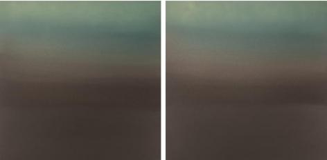 , Hakanai Fleeting Green Brown, 2014, hand-dyed anodized aluminum, 24 x 48 inches/60.96 x 121.92 cm