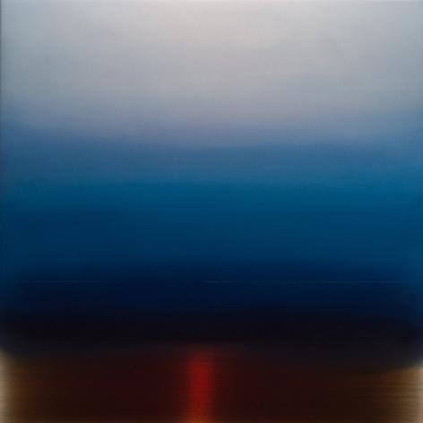 Miya Ando, Kasumi Mist 3, 2017, dye, pigment, resin and urethane on aluminum, 36 x 36 inches/91 x 91 cm