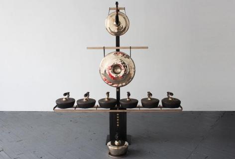 , Gamelatron Segitiga in Bronze, 72 x 76 x 20 inches