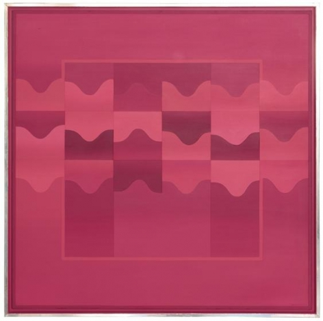 , Anthony Poon, Red Chroma Waves, c. late 1970s, acrylic on canvas, 48.42 x 48.42 inches/123 x 123 cm.