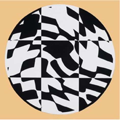 """Jean-Pierre Maury,  MDF 2008021, T., white and black , acrylic on MDF (high density chipboard), 43"""" diameter"""