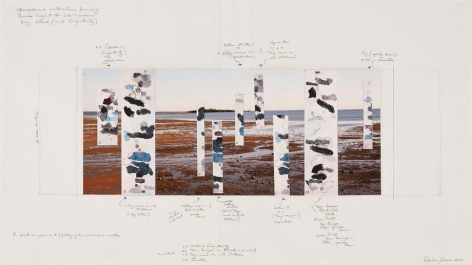 King Islands, 2014, one photograph, nine drawings, 17 x 30 inches/43 x 76 cm