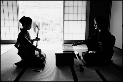 Hiroji Kubota, A private bridal school, where ladies go through basic training to seek well-to-do future husbands, Kanagawa, Japan, 1966, platinum print, 20 x 24 inches/50.8 x 61 cm © Hiroji Kubota/Magnum Photos