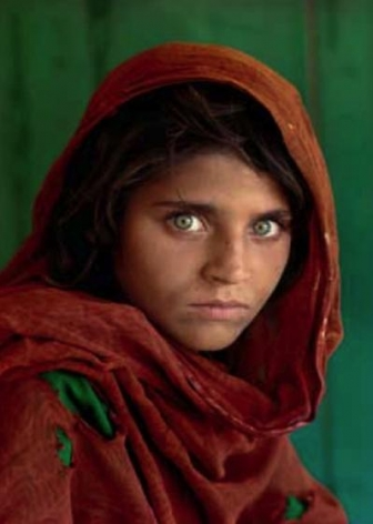 , Steve McCurry, Sharbat Gula, the Afghan Girl, at Nasir Bagh refugee camp near Peshawar, Pakistan , 1984, ultrachrome print, 20 x 24 inches/50.8 x 60.96 cm; © Steve McCurry