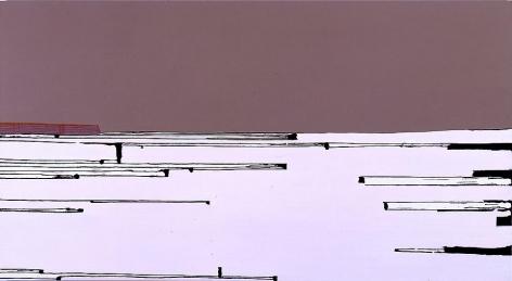 "Frances Barth I'm in a dangerous mood2004Acrylic on canvas52 x 96"""