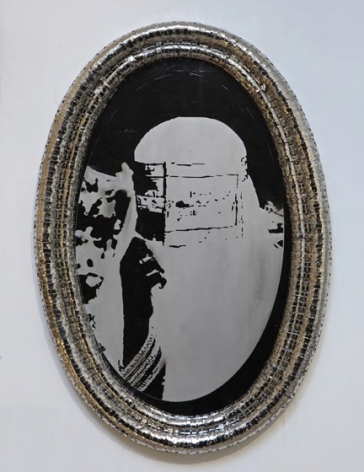 Tayeba Lipi, Trapped - 1, 2013, stainless steel razor blades and exposed drawing on mirror polished stainless steel, 29.9 x 20.1 inches/76 x 51 cm