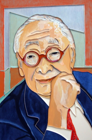 I. M. Pei, 2009, acrylic and wood on canvas, 48 x 32 inchesinches/121.9x 81.3 cm