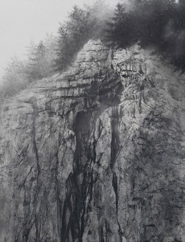 Cliff, 2020, natural pigment and platinum on Japanese mulberry paper mounted on board, 57.3x 44.1inches/145.5 x 112 cm