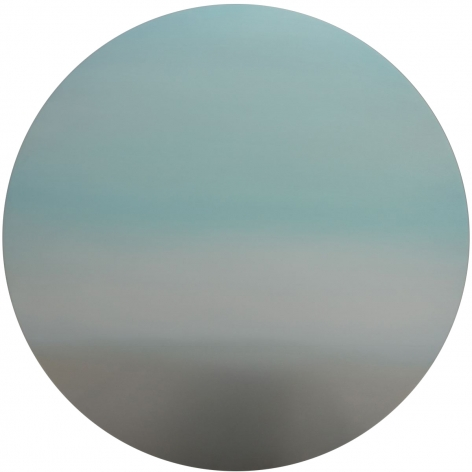 Blue Pink Purple Shift Moon 47, 2020, pigment and urethane on stainless steel, 47 inches/119.4 cm tondo