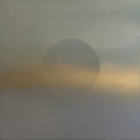 Oborozuki (A Moon Obscured by Clouds) Blue Gold, 2020, pigment, resin and urethane on aluminum, 24 x 24 inches/61 x 61 cm