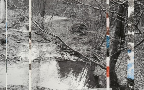 Ardennes Uncovered: Loss, 2014, one photograph, four drawings, 13.14 x 20.75 inches/33 x 53 cm
