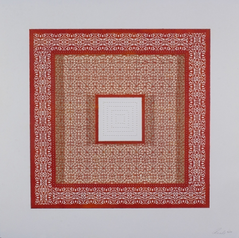 Anila Quayyum Agha, Flowers (Three Red Squares and One White), 2017, mixed media on paper (red square with white beads in center square; second square cutout with no backing), 29.5 x 29.5 inches/75 x 75 cm