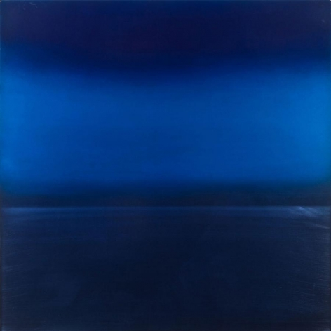 Miya Ando, Ephemeral Indigo 4, 2013, Dye, pigment, lacquer, resin on aluminum plate, 36 x 36 inches
