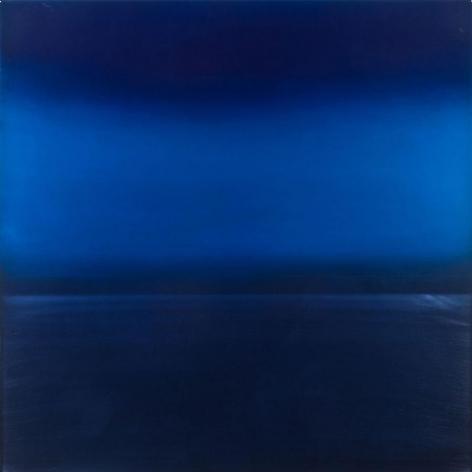 Miya Ando, Ephemeral Indigo 4, 2013, Dye, pigment, lacquer, resin on aluminum plate, 36 x 36 inches