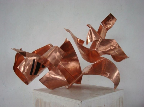 "Introbra, 2011, red copper, industrial paint, 23 5/8""H x 31 1/2""L x 23 5/8""W"