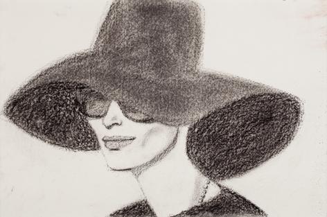 alex katz black hat 2 2010 charcoal on paper richard gray