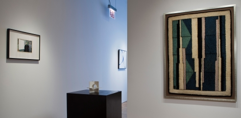 "L to R: John Stezaker, ""Tabula Rasa XIII,"" 2006; Jose de Rivera, ""Working Model No. 12,"" 1955; Jose de Rivera, ""Blue Black,"" 1945; John Storrs, ""Diagonals,"" 1928."