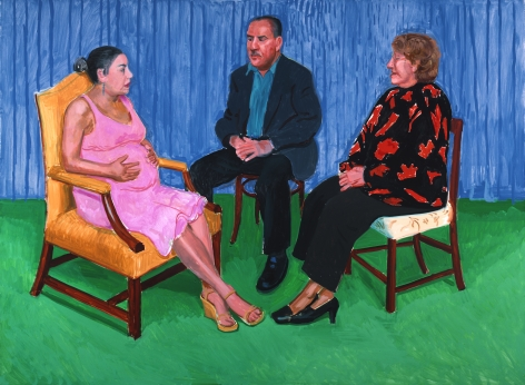 David Hockney Elsa, David and Dayanna Oil on canvas