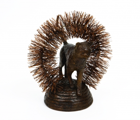 Malia Jensen Cat Brusher Patinated bronze, brass wire, Palmyra bristles