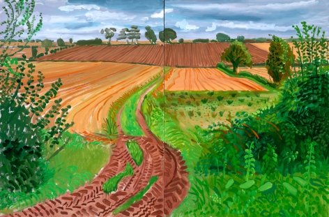 David Hockney Between Kilham and Langtoft Oil on canvas in two parts