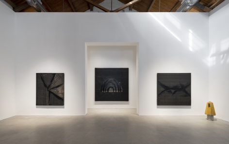 Installation view of Theaster Gates: Every Square Needs a Circle, 2019, Gray Warehouse, Chicago.
