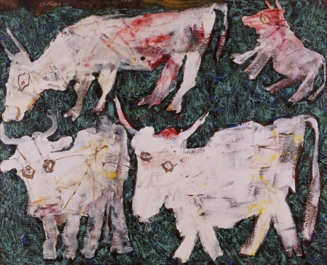 Jean Dubuffet Vaches au pre Oil on canvas