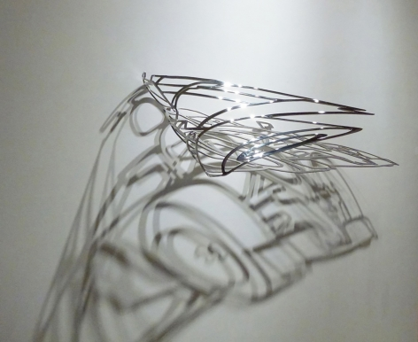 Eric Lapointe, sculptor, Galerie LeRoyer, anamorphic sculpture, anamorphosis art
