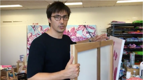 Artist Alesandro Ljubicic talks with Maria Stoljar in his studio