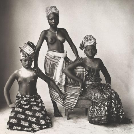 Three Aizo Girls of a Lagoon Village, (Three Dahomey Girls, One Standing), Dahomey, 1974, Platinum Palladium Photograph, Ed. of 30