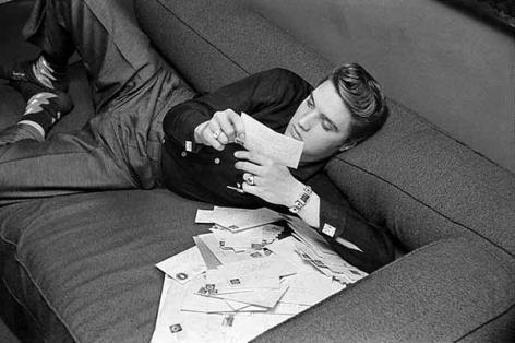 Elvis Presley Reading His Fan Mail 1956