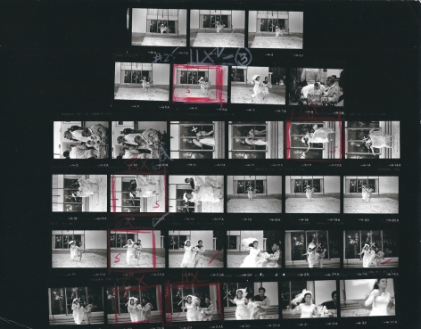 """Bob Willoughby Katharine Ross & Dustin Hoffman, running from the church at the end of """"The Graduate"""", Paramount Studios (Contact Sheet), 1967"""