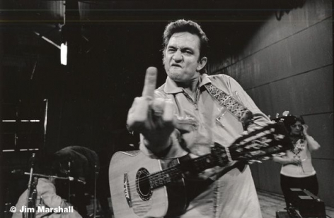 Johnny Cash (Flipping the Bird), San Quentin Prison, 1969, 11 x 14 Silver Gelatin Photograph