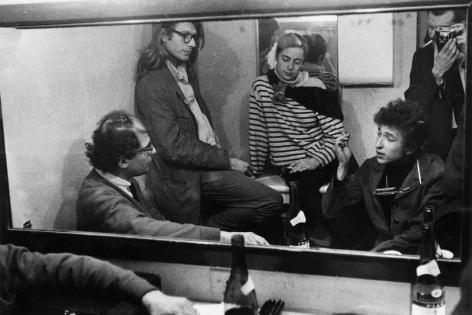 Allen Ginsberg, Peter Orlovsky, Barbara Rubin, Bob Dylan, and Daniel Kramer backstage at McCarter Theater, in Princeton, New Jersey, September, 1964, Silver Gelatin Photograph