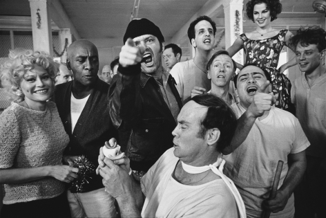 The Cast of One Flew Over the Cuckoo's Nest posing for their photograph on location at the Oregon State Hospital, Salem, Oregon,1975, Silver Gelatin Photograph